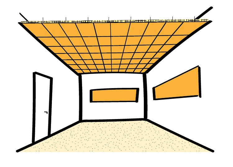 Acoustic design for SEN (Special Educational Needs) classrooms - absorptive suspended ceiling - acoustic wall panels - acoustic carpet
