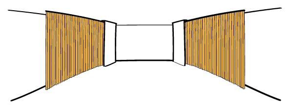 Acoustic curtains drapes extended