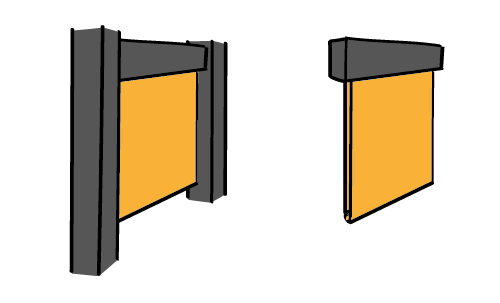Flat acoustic banners in a niche (left) and freely hanging (right) - sound absorption - acoustics