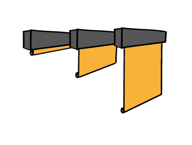 Fixed acoustic banners (left) and vertical banners with adjustable length - sound absorption