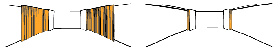 Variable sound absorption with curtains (left: extended - right: stored) - variable acoustics - acoustic curtains - acoustic drapes - performing arts