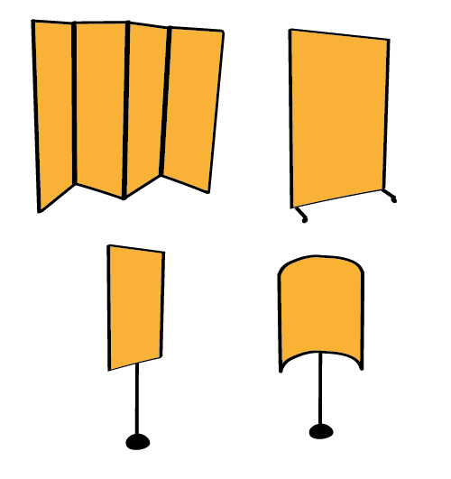 Variable sound absorption with moveable panels portable panels - variable acoustics - hinged portable panels - curved acoustic panels - free standing acoustic panels - sound reflective surface - performing arts
