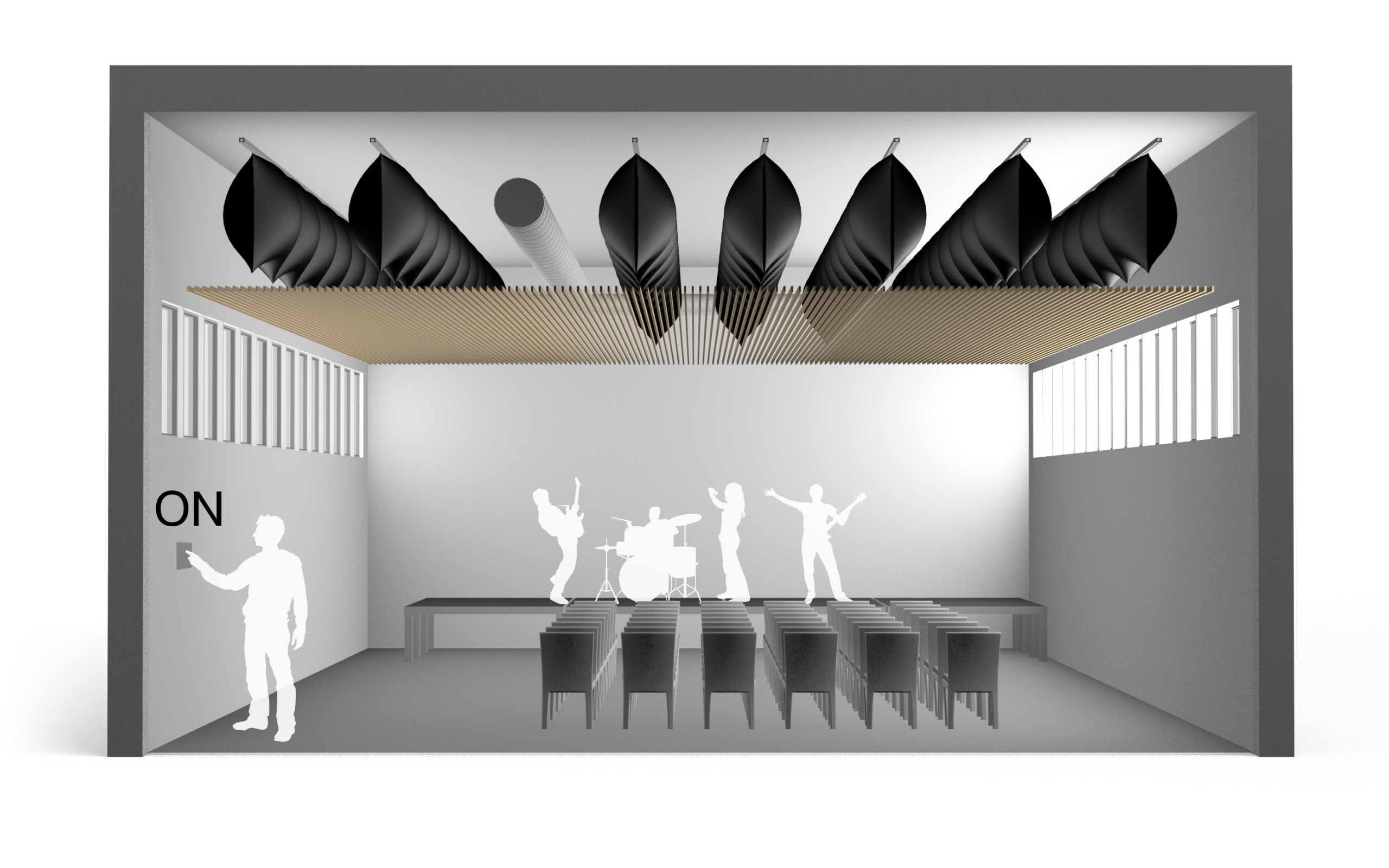 Variable sound absorption with inflatable membranes on for amplified and loud music - variable acoustics - sound absorption - performing arts - Flexacoustics - aQflex - aQtube